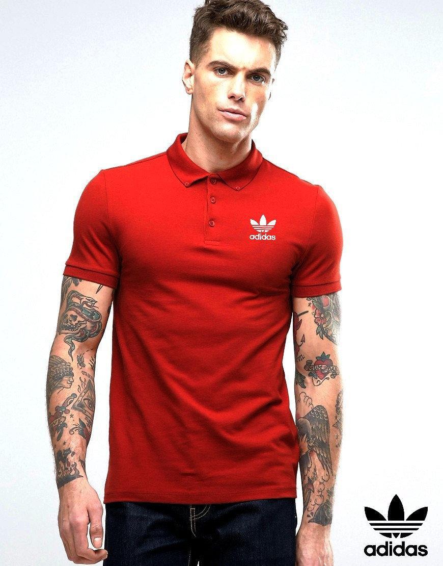 Мужское поло Adidas красного цвета (люкс копия)
