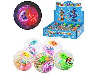 Мячи-прыгуны M 0088 U/R  водяные, светящиеся 5,5 см,прозрачные,с рыбкой