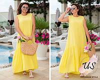 Длинное батальное летнее  женское платье. 3 цвета!, фото 1