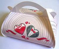 Коробка для каравая (белая, платье, фрак в сердце, глиттер)