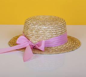 Канотье с розовой лентой