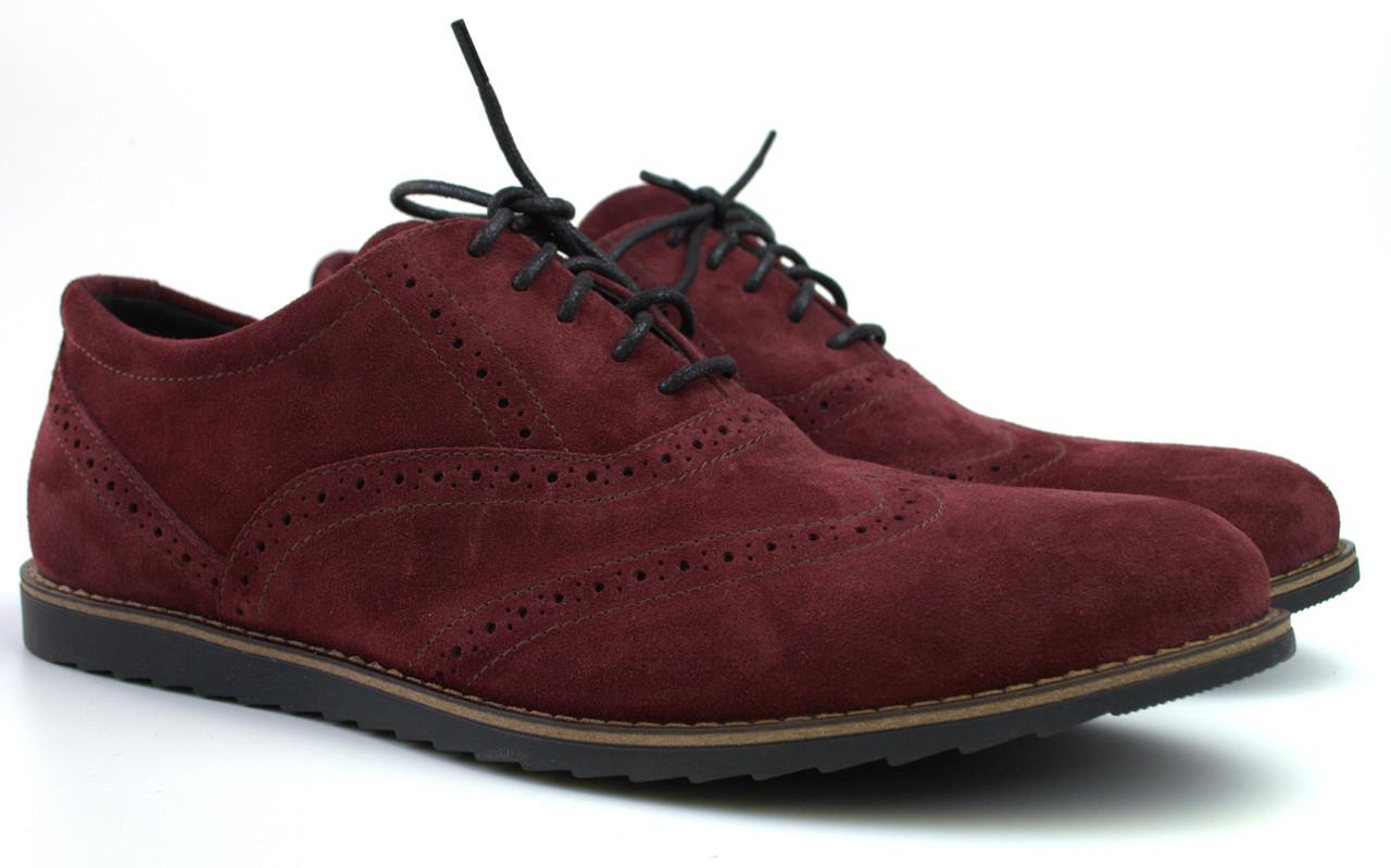 Бордовые броги большого размера туфли мужские замшевые Rosso Avangard Romano 2 Marsala Vel BS цвет марсала