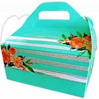 Коробка для каравая (зелена зі срібними смужками