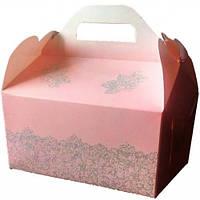 Коробка для каравая (светло-розовая, глиттер)
