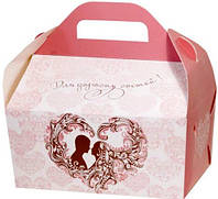 Коробка для каравая (бело-розовая, глиттер)