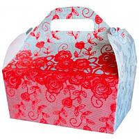Коробка для каравая (красно-серый узор, глиттер)