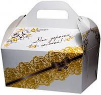 Коробка для каравая (белая с золотым узором, глиттер)