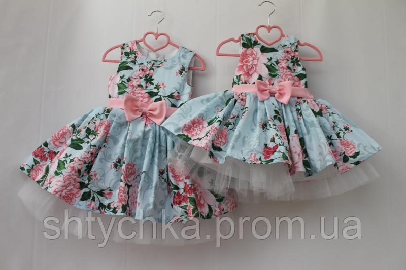"""Нарядное платье на девочку """" Розовый пиончик""""  с розовым поясом и бантиком"""