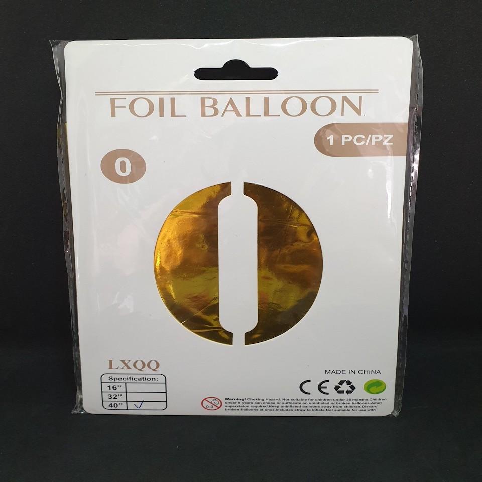 """Надувна куля Цифра 0, 40"""" (102 см) фольга Золото, Китай, уп."""