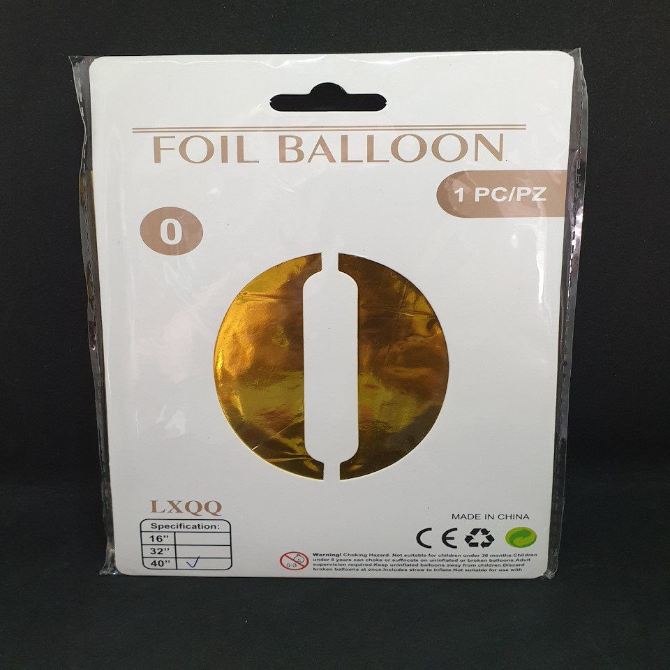 """Надувной шар Цифра 0, 40"""" (102 см) фольга Золото, Китай, уп."""