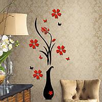 Наклейка акриловая «Ваза с цветами». Интерьерная декоративная 3D наклейка на стену.