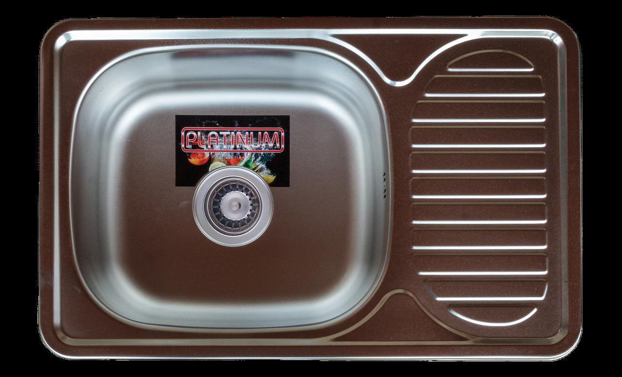 Прямоугольная кухонная мойка Platinum 6642 Satin 0,8мм