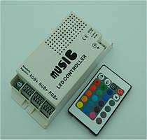 Контроллер для светодиодной ленты RGB 9А с функцией светомузыки, Smart RIR-3-RGB-WMC, ИК пульт 24 кнопки
