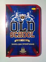 Папка для труда А4 ламинированная на змейке OLD SCHOOL красная / папка для ручної праці на молнії