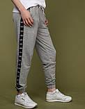 Спортивные штаны женские Adidas 20096 серые с черными лампасами, фото 3