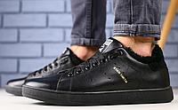 Кроссовки Adidas зимние кожаные черные на меху