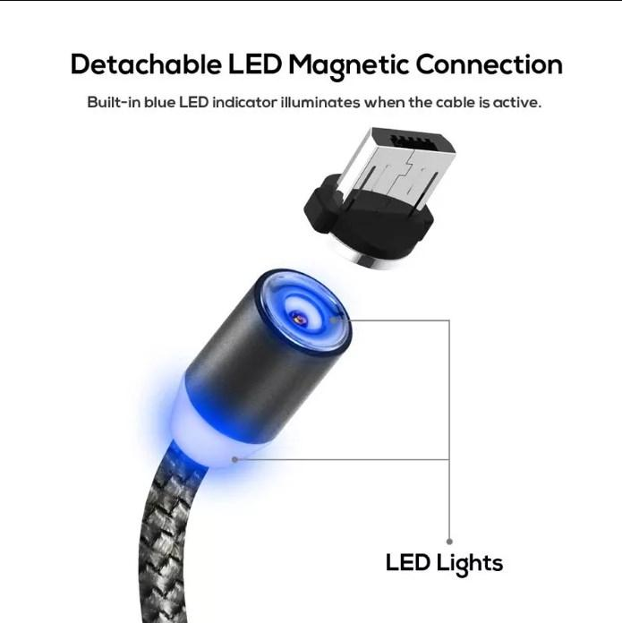 Магнитный кабель micro USB тканевый круглый 360 серый