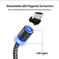 Магнитный кабель micro USB тканевый круглый 360 серый, фото 1