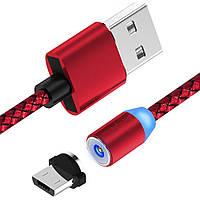 Магнитный кабель micro USB тканевый круглый 360 красный