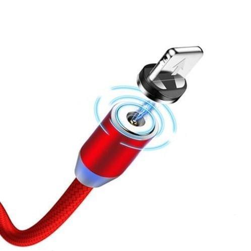Магнитный кабель lightning (Iphone) тканевый круглый 360 красный