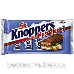 Шоколадно-вафельные батончики с молочно-нуговым кремом Knoppers Nussriegel, 5 шт