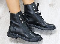 Ботинки женские демисезонные кожаные черные 42 и 43 размеры, фото 1