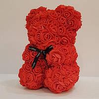 Мишка 25 см с коробкой из 3D фоамирановых роз Teddy de Luxe / искусственных цветов 3д, пенопласт Тедди красный
