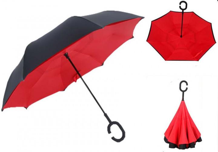 Зонт Наоборот Up-brella - Зонт Обратного Сложения (Обратный Зонт) Антизонт - Смарт зонт (Умный Зонт) Черный/красный (an1125)