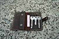 Коричневая ключница Mr. Falke из натуральной кожи с карманом под кредитку, фото 1