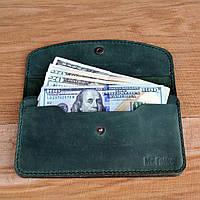 Клатч жіночий гаманець зелений з натуральної шкіри Mr.Falke