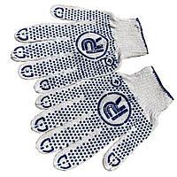 Перчатки рабочие PROTECT  трикотажные с точкой ПВХ (без этикетки) белые