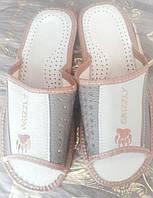 Тапочки мужские комнатные кожаные открытый носок , коричневые с бежевым, 40-46 размеры.