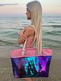 Сумка женская Sequins BIG Pink and Gradient Пайетки, фото 2
