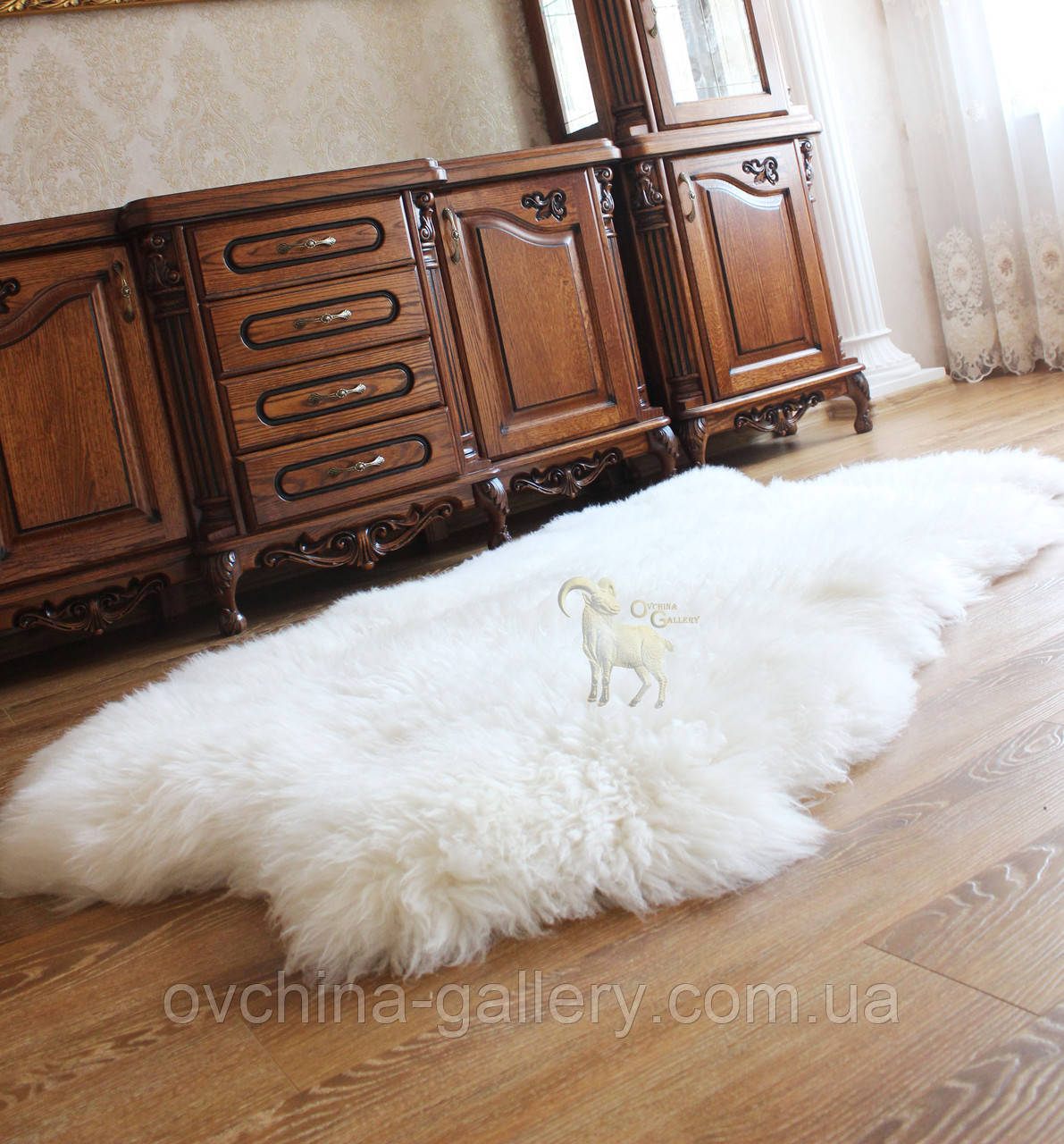 Ковер из 4-х овечьих шкур, белый