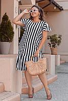 Летнее легкое женское  платье в полоску  больших размеров