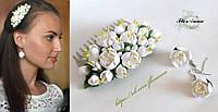 """""""Белый жасмин"""" гребень+серьги. Комплект авторских украшений  из полимерной глины, фото 1"""