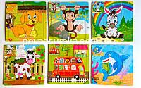 """Деревянные пазлы """"Животные"""", цена за 1 шт. (15х15см, в рамке), фото 1"""