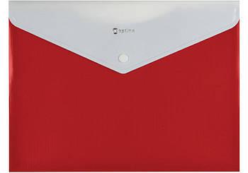 Папка конверт А4 на кнопке с расширением красная O31315-03