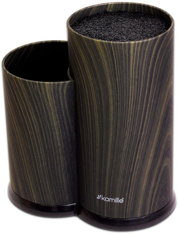 Колода для ножей Kamille Brash Stand Ebony 22.5см пластиковая двойная