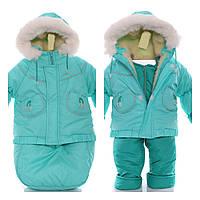 Детский костюм-тройка (конверт+курточка+полукомбинезон) мятный