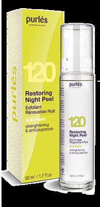 Восстанавливающий ночной пилинг для укрепления и борьбы с куперозом  Purles