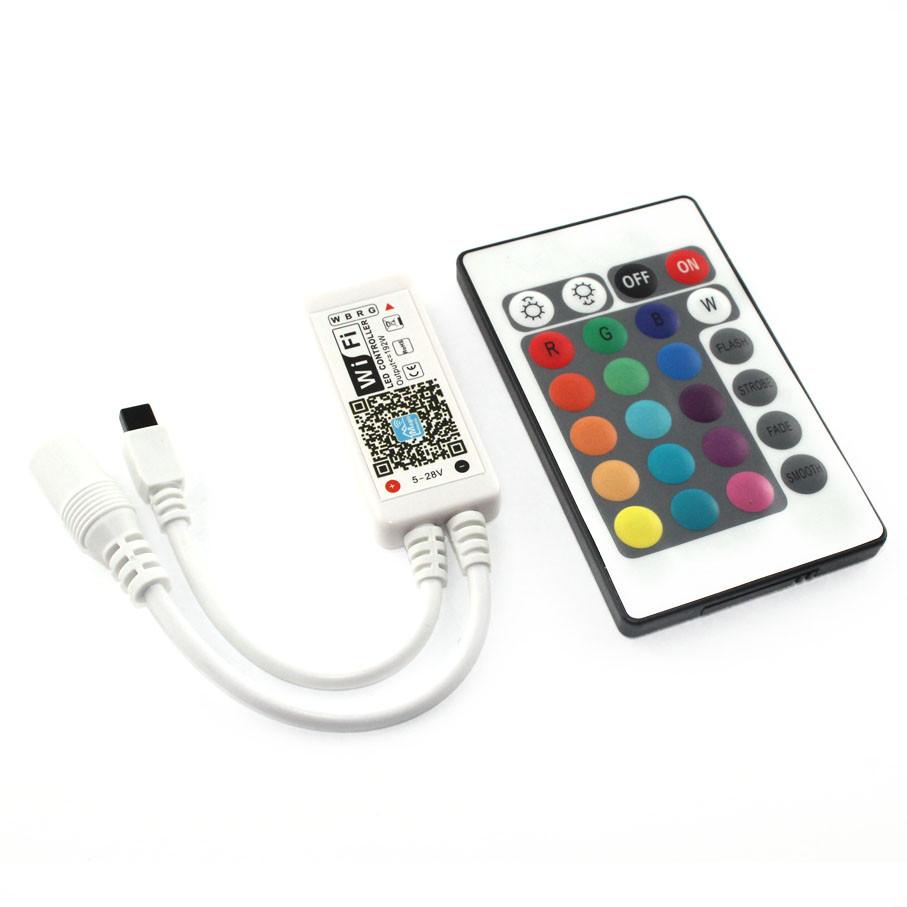 Мини WiFi Контроллер для светодиодной ленты RGBW 6А, Smart IRWF-4-RGBW-W-01. С ИК пультом на 24 кнопки