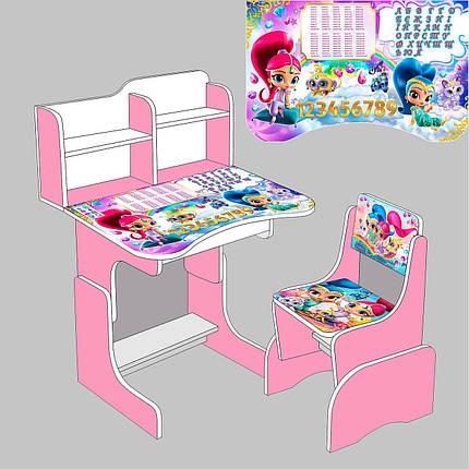 """Парта школьная """"Шимер и Шаин"""" ЛДСП ПШ 006 (69*45 см), цвет розовый, + 1 стул, фото 2"""
