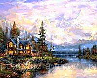 РукИТвор Картина по номерам (VP1113) Дом у горного озера 40 х 50 см