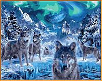 РукИТвор Картина по номерам (NB1102R) Волки и северное сияние (в раме) 40 х 50 см
