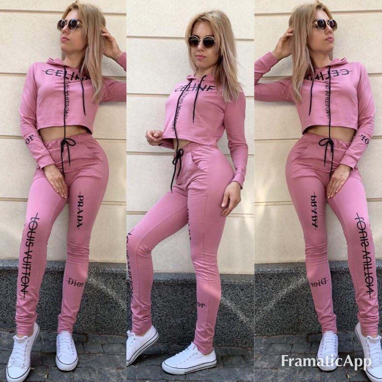 Костюм спортивный женский с капюшоном и укороченным топом , с принтом,  двунить, штаны на манжете с карманами