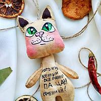 Ароматизированная текстильная мягкая игрушка ручной работы Кот с большими глазами 19*9 см.