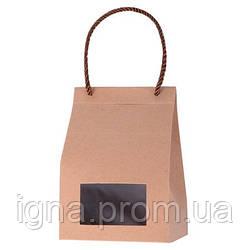 """Пакет-коробка подарочный бумажный с окошком """"Картон"""" 12шт/уп 10*16*8см R15982 (1200шт)"""