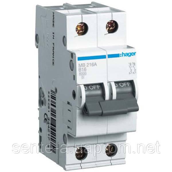 Автоматичний вимикач 2 пол. 16А тип З 6КА МС216А HAGER
