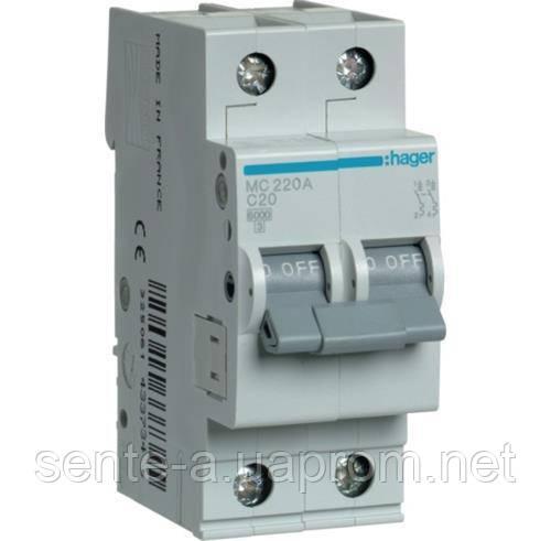 Автоматический выключатель 2 пол. 20А тип С 6КА МС220А HAGER